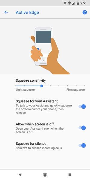 Enable Active Edge on Google Pixel 2 - Turn on Active Edge