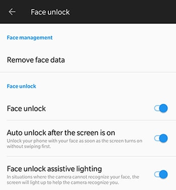 Enable Face Unlock on OnePlus 5 and OnePlus 3 - Screenshot