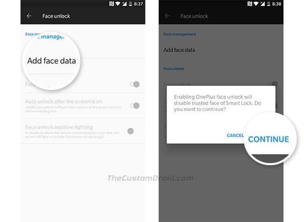 Enable Face Unlock on OnePlus 5 and OnePlus 3 - Step 2