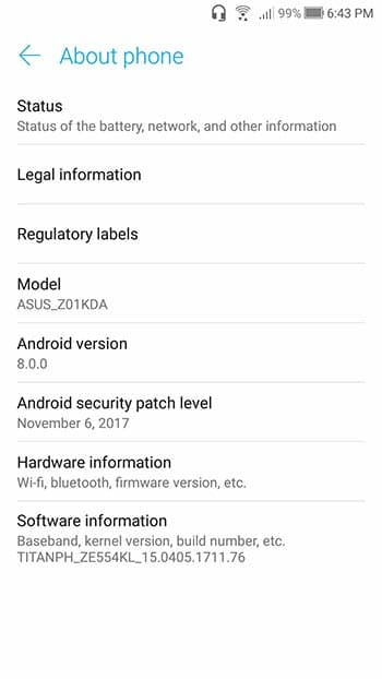 Install Android 8.0 Oreo on Asus Zenfone 4 ZE554KL - Screenshots