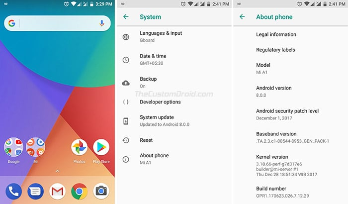 Install Xiaomi Mi A1 Android Oreo OTA - Screenshots