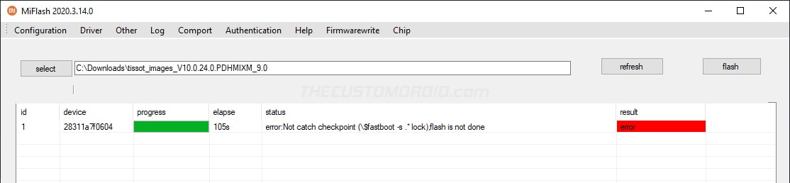 Mi Flash Tool Error: 'Not catch checkpoint, flash is not done'