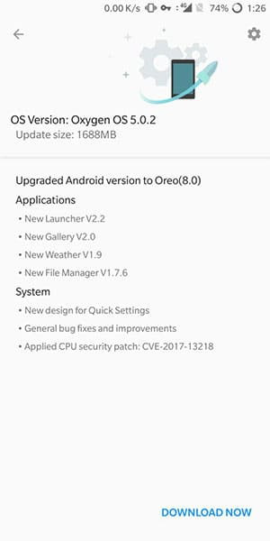 OTA notification to Install OxygenOS 5.0.2 on OnePlus 5T and OnePlus 5