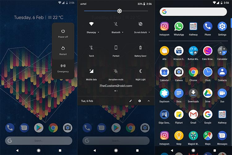 Enable Google Dark Theme on Pixel 2 - Screenshots