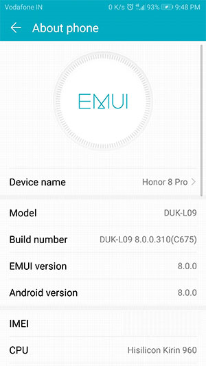 Install Honor 8 Pro Android Oreo Update - Screenshot
