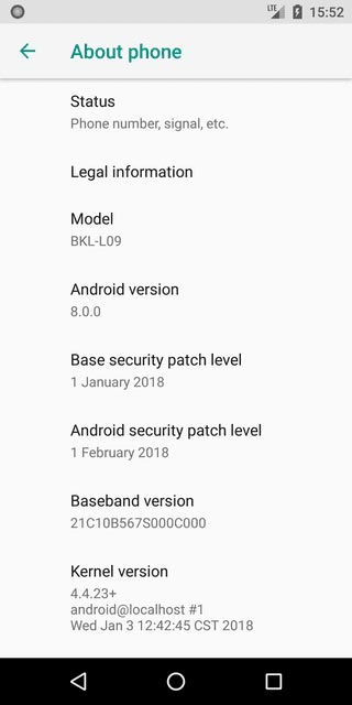 Install Honor View 10 AOSP Oreo ROM - About Phone