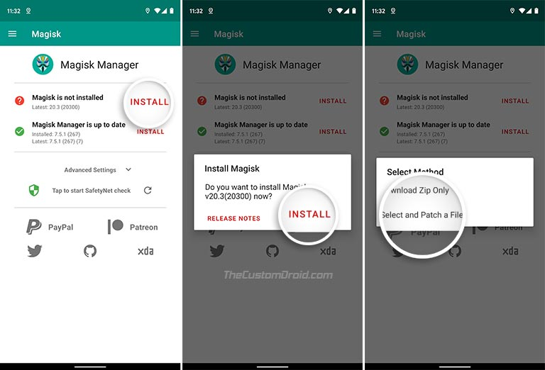 Select and Patch a File in Magisk Manager