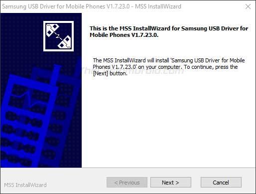 "Install Samsung USB Drivers on Windows - Click on ""Next"""