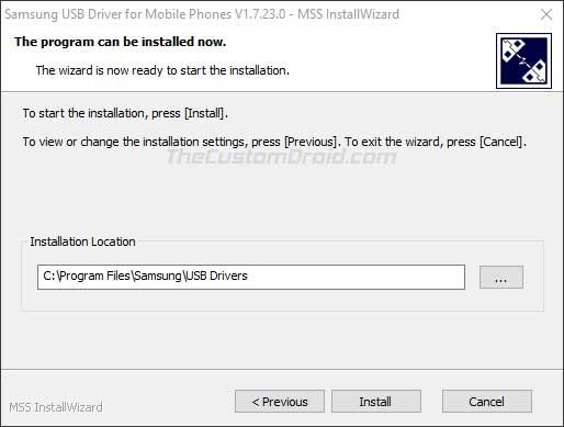 Install Samsung USB Drivers on Windows - Select installation location on PC