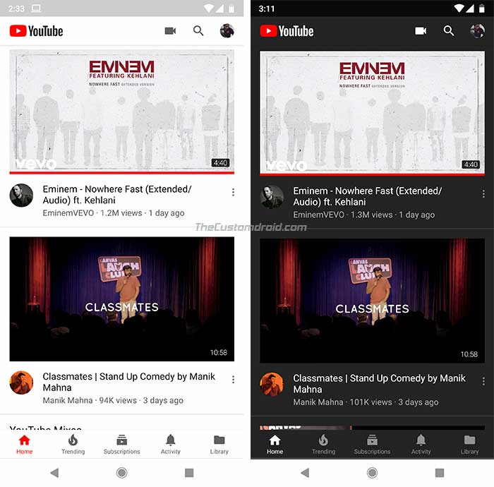 Enable YouTube Dark Mode on Android - Comparison 1