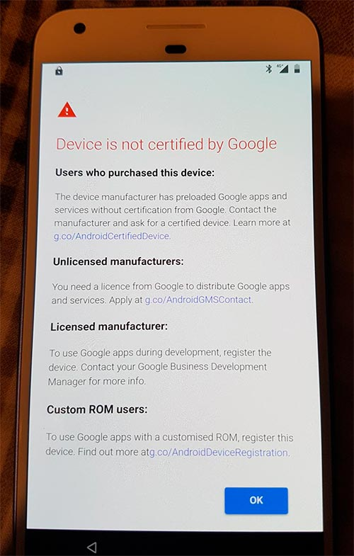Google Blocks GApps on Uncertified Devices - Error Screen