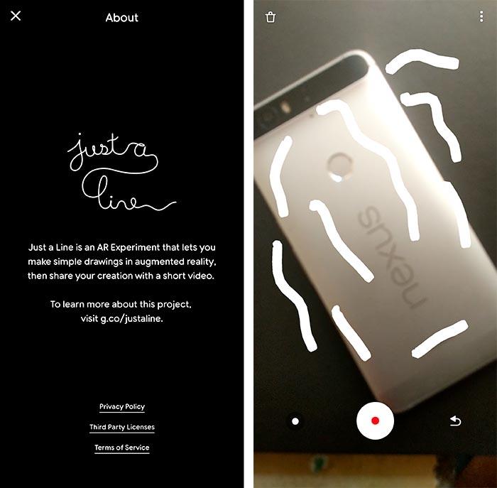 Google Just a Line App - Screenshots