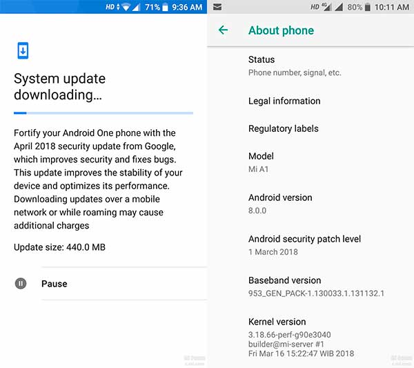 Xiaomi Mi A1 March Update - Screenshots