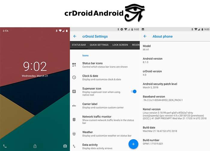 Best Custom ROMs for Xiaomi Mi A1 - crDroid ROM