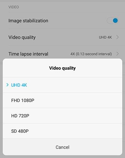Enable 4K UHD Video Recording on Redmi Note 5 Pro MIUI Camera App