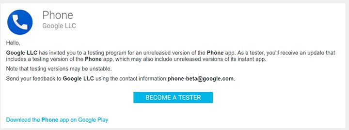 Google Phone App Beta Testing Program