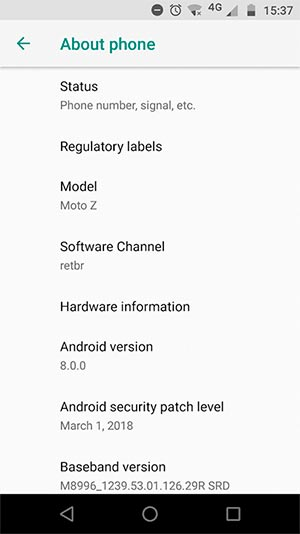 Install Moto Z Android 8.0 Oreo Update - OTA Screenshot