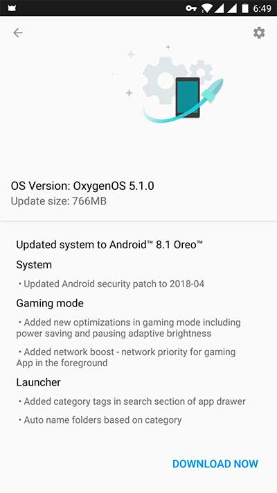 Install OxygenOS 5.1.0 on OnePlus 5/5T - OTA Screenshot
