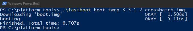 Install TWRP on Android Devices with A/B Partition using Fastboot - Boot TWRP Image