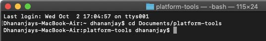 Install TWRP on Android using Fastboot - cd to Platform-tools in Terminal