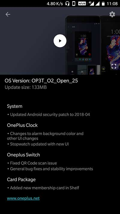 OxygenOS Open Beta 34/25 on OnePlus 3/3T OTA Notification
