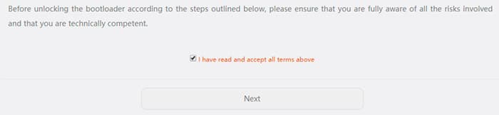 Unlock Bootloader on Honor 9 Lite - Accept Unlock Agreement