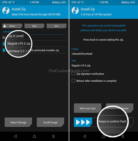 Flash Magisk 19.3 to Root Asus Zenfone Max Pro M1