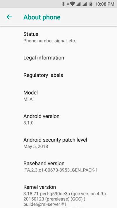 Install Android 8.1 Oreo Beta on Xiaomi Mi A1 - Screenshot