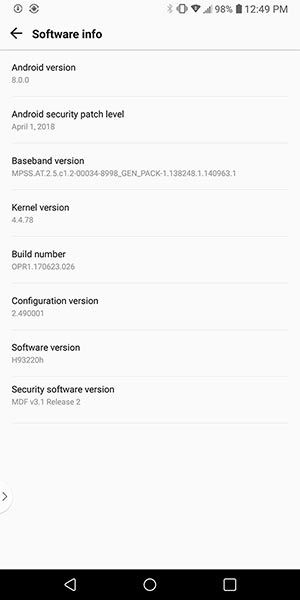 Install Android Oreo on T-Mobile LG V30 - Software Info Screenshot