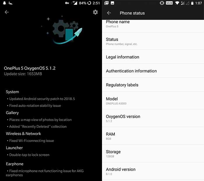 Install OnePlus 5/5T OxygenOS 5.1.2 Update - OTA Screenshot