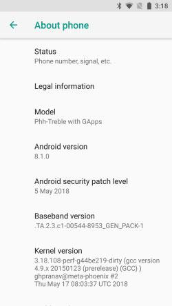 Project Treble Support for Xiaomi Mi A1 - Phh-Treble ROM Screenshot