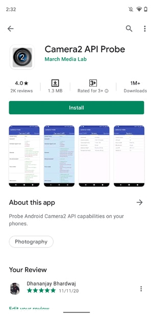 Check Camera2 API Support on Android - Install Camera2 API Probe App