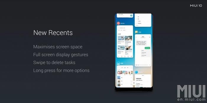 MIUI 10 Features - Recents Menu