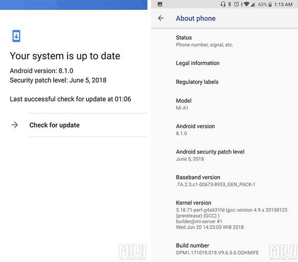 Xiaomi Mi A1 9.6.3.0 Oreo Update - OTA Screenshot