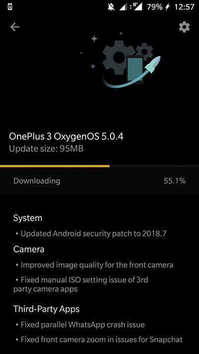 OxygenOS 5.0.4 Update for OnePlus 3 - OTA Screenshot