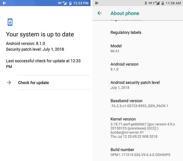 Xiaomi Mi A1 9.6.4.0 Oreo Update - Screenshots
