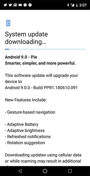 Android Pie Update for Essential Phone Users on Sprint - OTA Screenshot