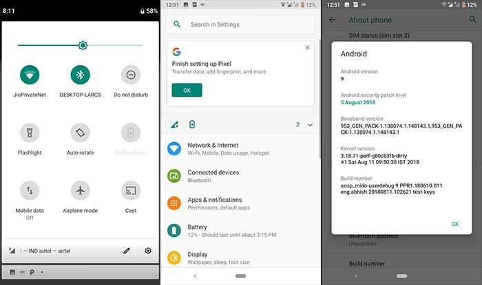 Android Pie on Redmi Note 4 - AOSP 9.0 ROM Screenshots