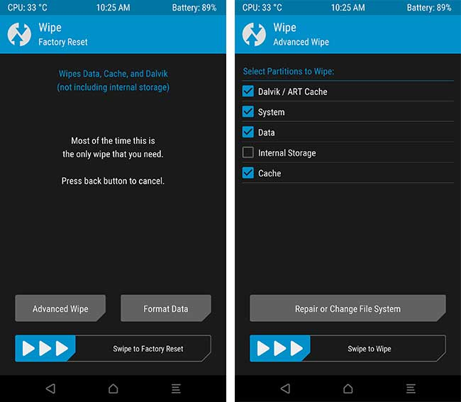 install Xiaomi Mi A1 August 2018 security update - TWRP Wipe