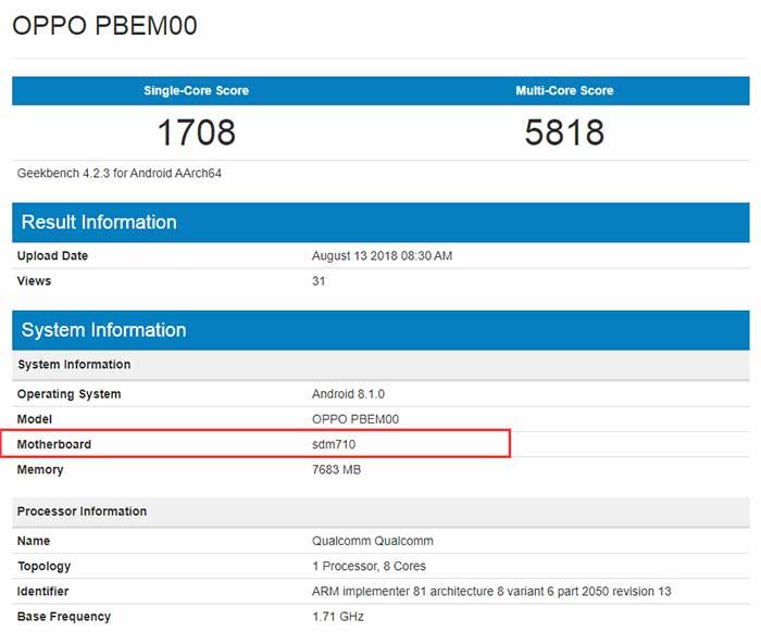 Oppo R17 Pro Geekbench Score