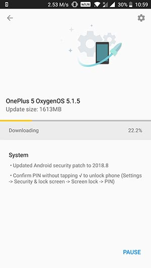OxygenOS 5.1.5 for OnePlus 5/5T - OTA Screenshot
