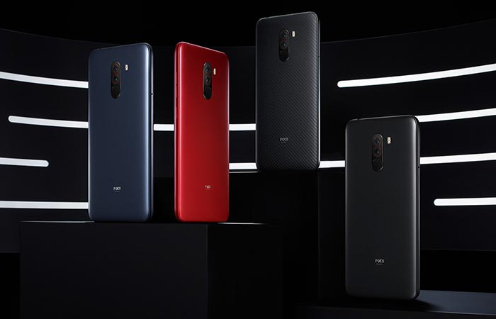 Poco F1 Color Variants - Steel Blue, Graphite Black, Rosso Red, and Armoured Edition