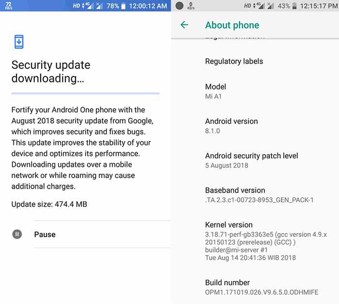 Xiaomi Mi A1 August 2018 Security Update OTA Screenshot