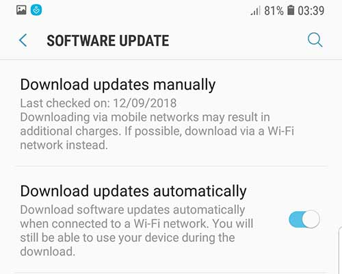 Fix Missing OEM Unlock Toggle on Samsung Galaxy Devices - Tap on 'Download updates manually'