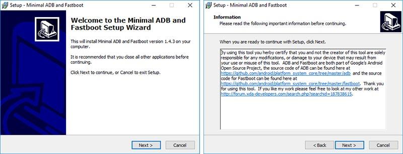 Install Minimal ADB and Fastboot Tool - Information Message