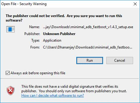 Install Minimal ADB and Fastboot Tool - Security Warning Message
