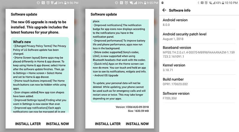 LG G5 Android 8.0 Oreo Update - OTA Screenshots