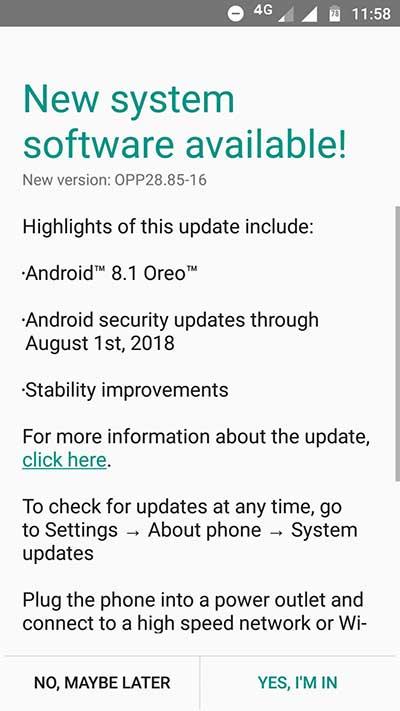 Moto G5 Android Oreo Update OTA Screenshot