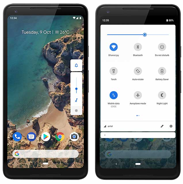 List of Android 9 Pie Ports - Android Pie Features - Redesigned Quick Settings, Volume Controls, and Notification Shade