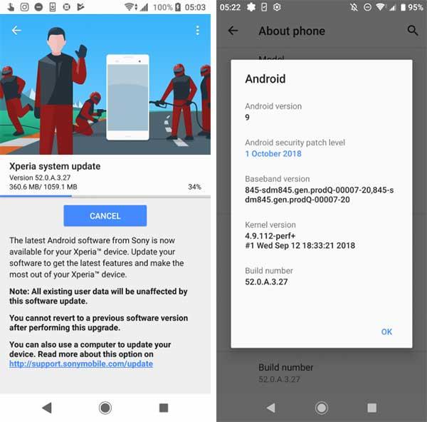 Xperia XZ2 Android Pie Update OTA Screenshot